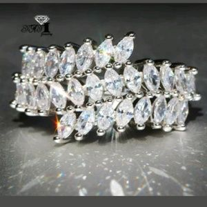 New zircon 925 silver size 8 ring